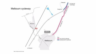 The Melbourn cycleway route.