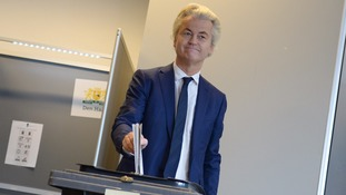 Wilders casting his vote in the elections.