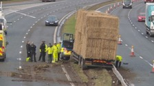 The HGV crashed into the M6 central reservation