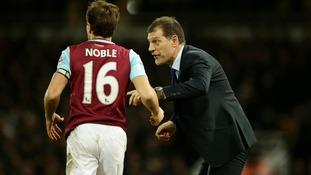 West Ham captain Mark Noble with manager Slaven Bilic