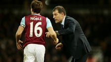 West Ham captain Mark Noble with manager Slaven Bilic