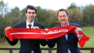 Steve Gibson (left) insists he did not sack Aitor Karanka