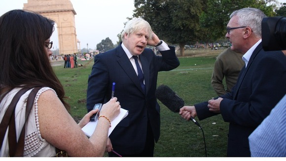London Mayor Boris Johnson with London Tonight's Simon Harris.