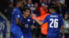 Leicester celebrating scoring vs Sevilla