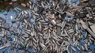 A build-up of bottles in Manchester's Rochdale canal.