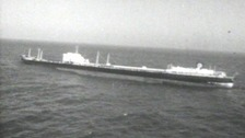 The SS Torrey Canyon marooned off the coast of Cornwall.