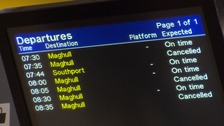 The departure board at Liverpool Central