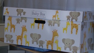 The cardboard boxes have been designed to stop babies rolling onto their tummies while they sleep