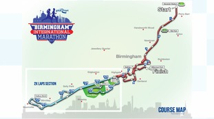 The route for the first Birmingham International Marathon