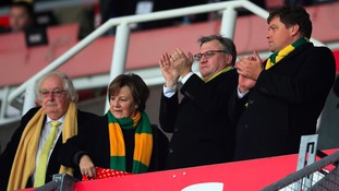 Board members: Norwich City Chairman Ed Balls (second from right) and Directors of Norwich City Michael Wynn Jones (left) and Delia Smith (second left).