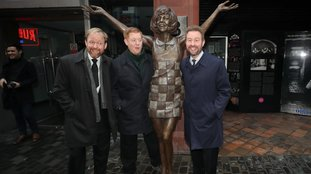Cilla Black sons (left to right) Ben, Jack, and Robert Willis by the statue of the singer at its unveiling outside the Cavern Club in Liverpool in January 2017