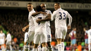 Jermain Defoe celebrates his goal during Tottenham&#x27;s 3-1 win over West Ham Photo: Press Association