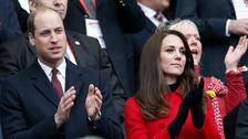 Kate and William clap for Wales as they play France