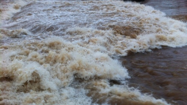 The river Exe in full flow