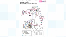 route of the Reading Half Marathon