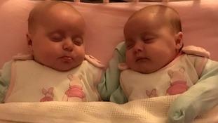 Twin girls Rhea and Lyra.
