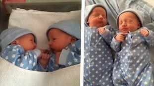 Twin boys Brayden and Logan as babies.
