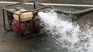 Pumps are being used to move the water