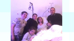 Sally and her family in hospital