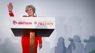 Theresa May arriving at Swalec stadium