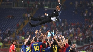 The Spanish coach celebrates Barcelona's 2009 Champions League victory over Manchester United in style.