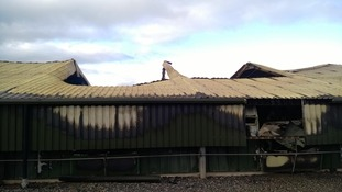 The shed after firefighters put out the blaze