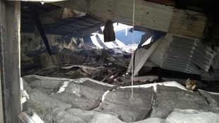Inside the damaged shed