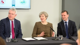 First Minister Carwyn Jones, Prime Minister Theresa May and Welsh Secretary Alun Cairns