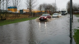 Flooding on the B1284 at Fencehouses