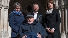 Noel Conway outside court with his wife Carol (left), (left), stepson Terry McCusker and Sarah Wootton, CEO of Dignity in Dying (right).