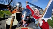 Viking protestors at the Scottish Parliament today