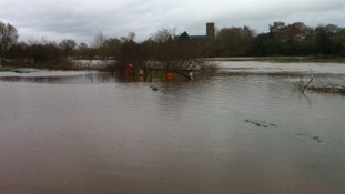 Flooded River Dee in Farndon