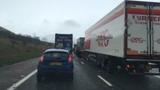 Major tailbacks on the M6 near Shap.