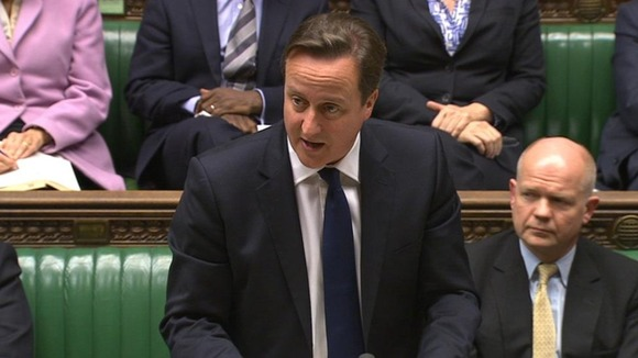 David Cameron in the House of Commons this afternoon