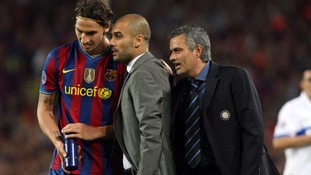 Jose Mourinho when he was in charge at Inter Milan with Pep Guardiola and Zlatan Ibrahimovic of Barcelona
