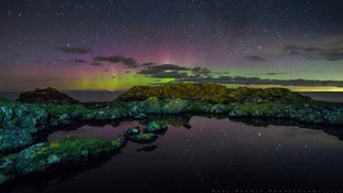 The Aurora Borealis at Corsewall in Dumfries and Galloway.