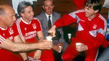 Ronnie Moran left, Kenny Dalglish right