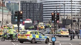 Dozens of police cars at the scene