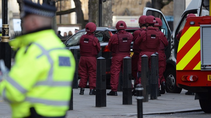 Emergency personnel outside the Palace of Westminster