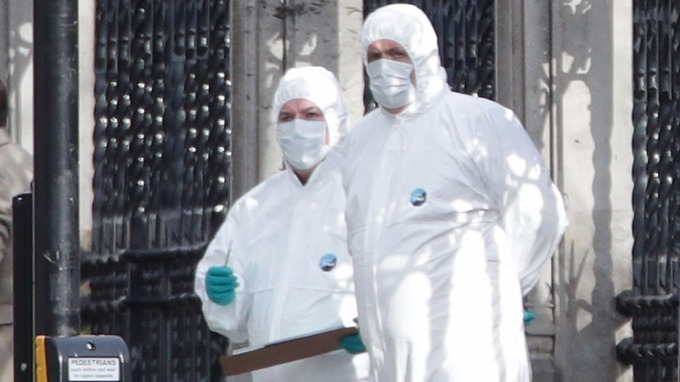 Emergency personnel close to the Palace of Westminster