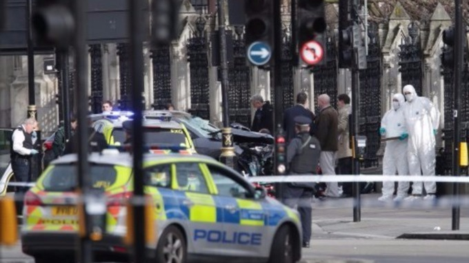 Emergency services at the scene in Westminster
