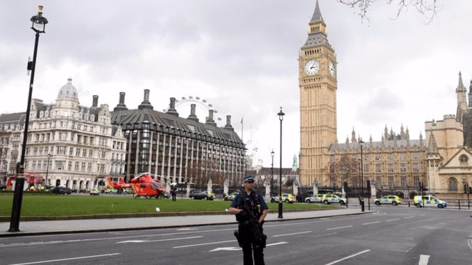 A police officer on guard