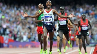 Mo Farah winning the Men's 5000m Final during Day 15 of the London 2012 Olympics at the Olympic Stadium, London.