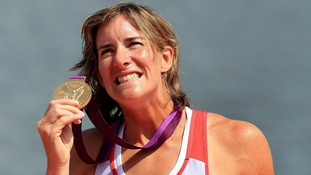 Katherine Grainger after winning gold in the women's double sculls at Eton Dorney Rowing Lake, Windsor.