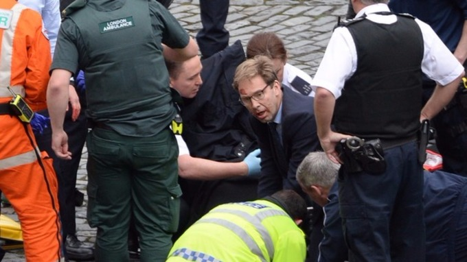 MP Tobias Ellwood gave medical treatment to the police officer after he was stabbed