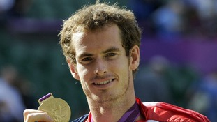 Andy Murray with his Olympic Gold Medal, after winning the Men's Singles match at the Olympic Tennis Venue, Wimbledon.
