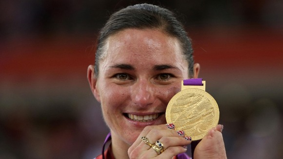 Sarah Storey celebrates winning Gold during the Women's Individual C4-5 500m Time Trial at the Velodrome in the Olympic Park, London.