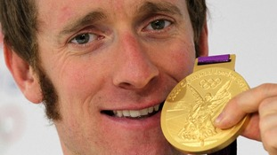 Bradley Wiggins during a photocall after winning the Men's Individual Time Trial on day five of the London Olympic Games.