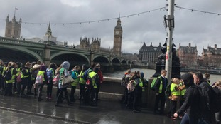 The school children were visiting the Houses of Parliament.