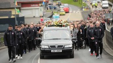 Tributes are paid to Derry captain Ryan McBride at his funeral.